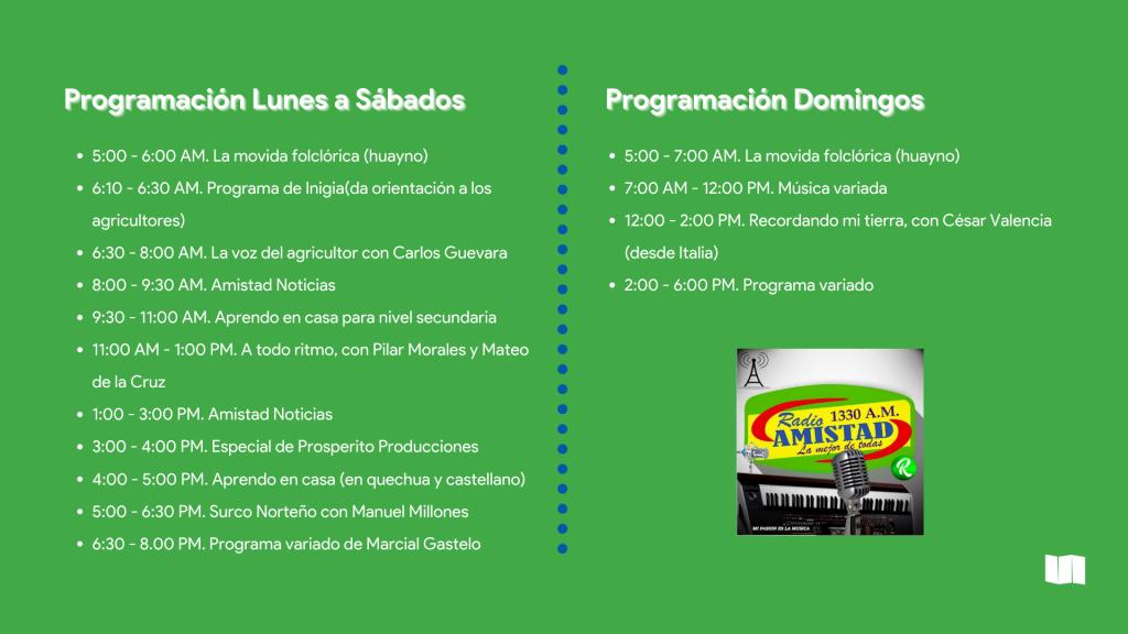 La imagen muestra la programación de Radio Amistad
